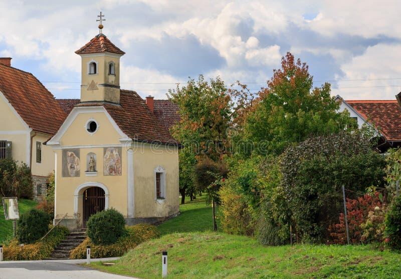 Old church in Austrian village Perndorf. Styria, Austria. Old church in Austrian village Perndorf. Municipality Puch bei Weiz, federal state Styria, Austria stock photography