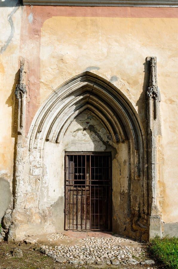 Old church backdoor, transylvania architecture stock photo