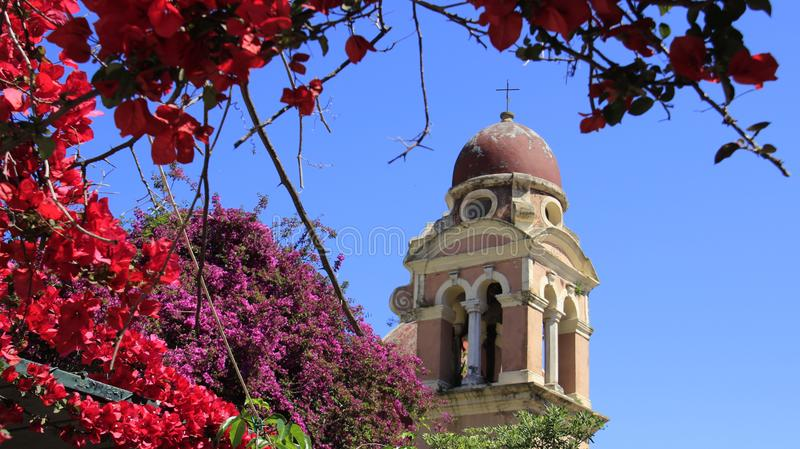 Old Church And Bell Tower With Budding Bougainvillea stock image