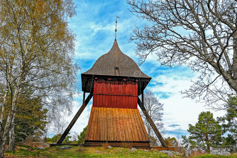 Old church bell tower of Sigtuna, Sweden royalty free stock images