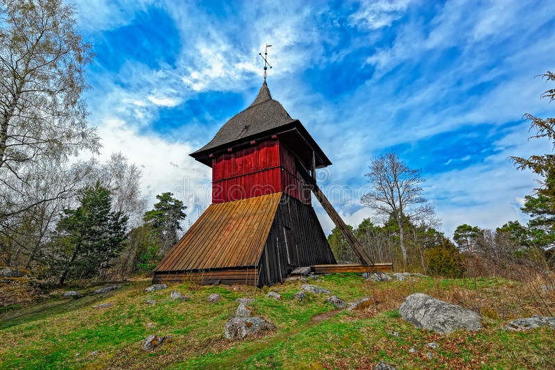 Old church bell tower of Sigtuna, Sweden stock photo