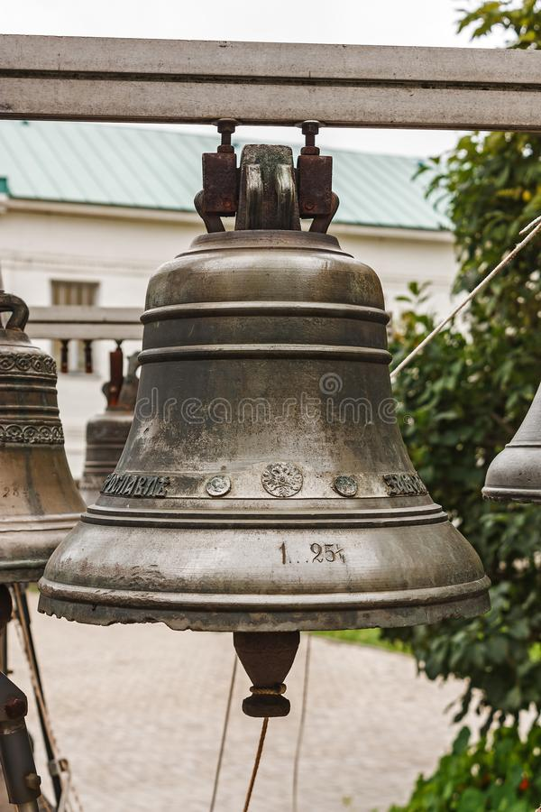 Old Church bell. Yaroslavl. Russian Federation. 2017. Old Church bell. Yaroslavl. Russian Federation. Bell established on the monastery grounds for review by stock photos