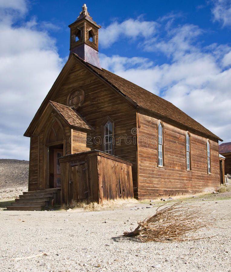 Old church in Bodie. Old wooden church in Bodie, ghost town in the Bodie Hills stock images