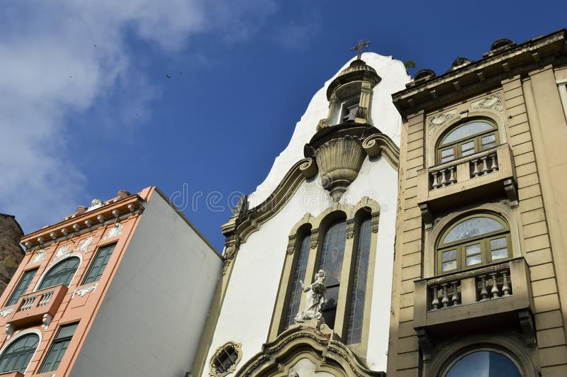 Old buildings in Rua da carioca in Rio de Janeiro. Old church in the center of Rio de Janeiro, at Passos Street at Passos Street brazil downtown carioca building stock images