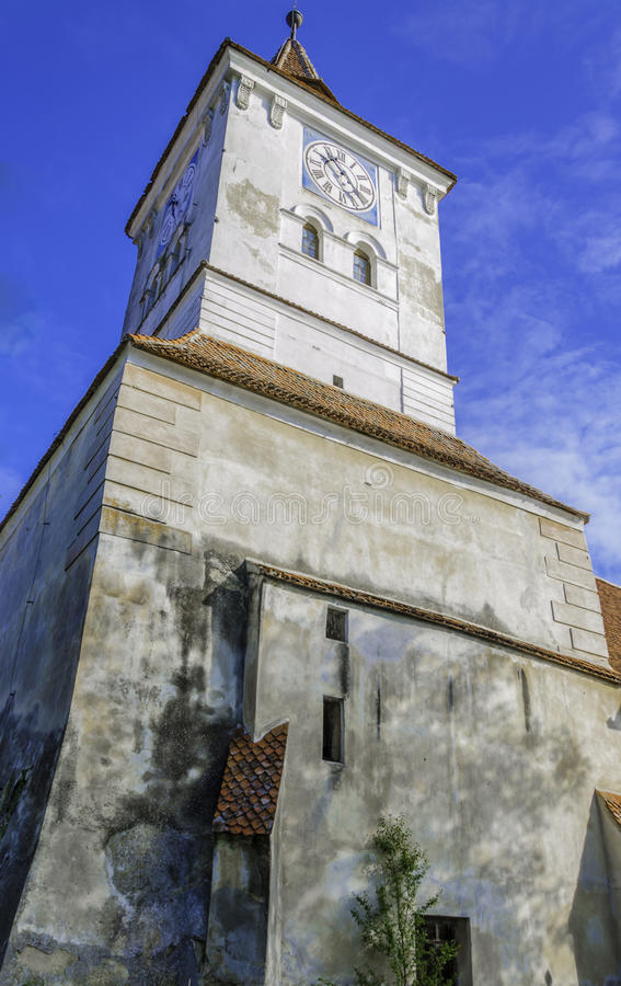 Old church with clock tower, transylvania architecture royalty free stock image