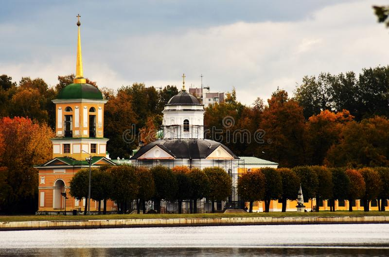 Kuskovo park in Moscow, Russia. Autumn nature. Old church. Color photo taken in Kuskovo park in Moscow, Russia. Autumn nature royalty free stock photos