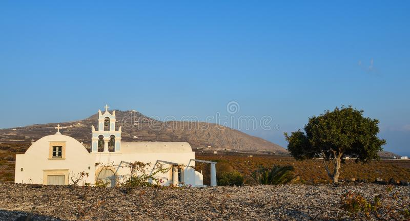 Old church at countryside of Santorini Island. Greece stock image