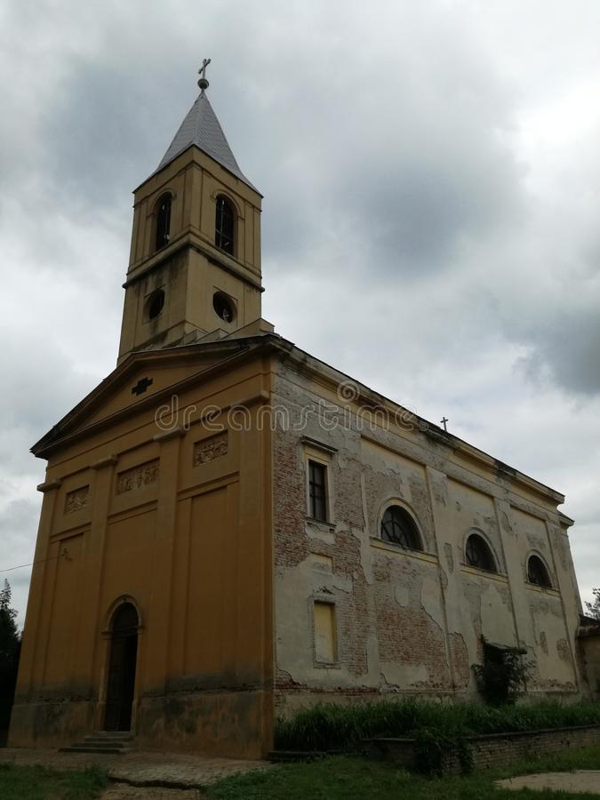 An old church with a dilapidated facade stock images