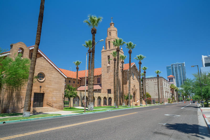 Old Church in downtown Phoenix Arizona stock images
