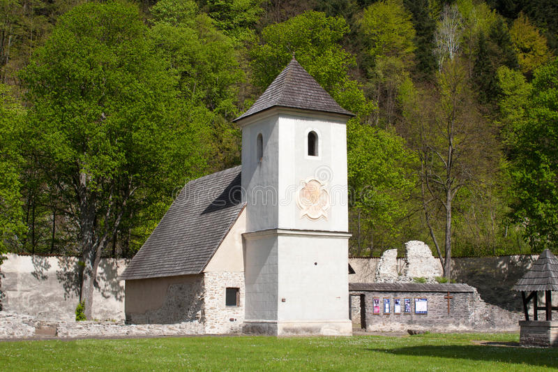 Old church. In famous Red Monastery called Cerveny Klastor in Slovakia royalty free stock images