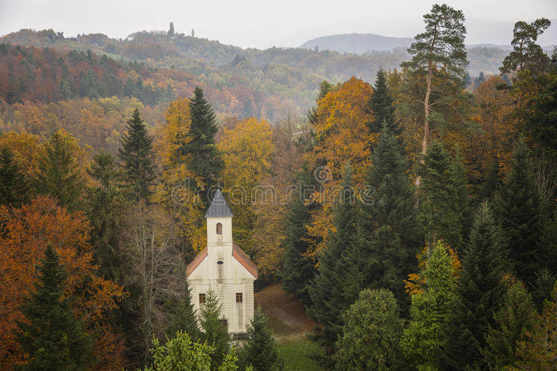 Old church in the forrest. Old church in the autumn forrest in Zagirhe, Northern part of Croatia stock photo