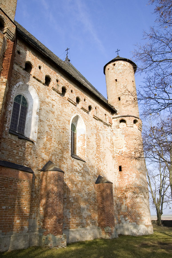 Old church-fortress. Of 15 centuries. In village Synkovichi in Belarus royalty free stock image