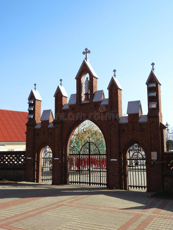Church gate and Easter tree, Lithuania royalty free stock images