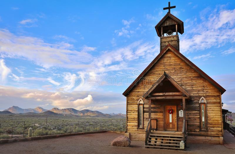 Old Church at Goldfield Ghost Town in Arizona. Old church building in front of desert background, located at Goldfield Ghost Town, Apache Junction, Arizona stock image
