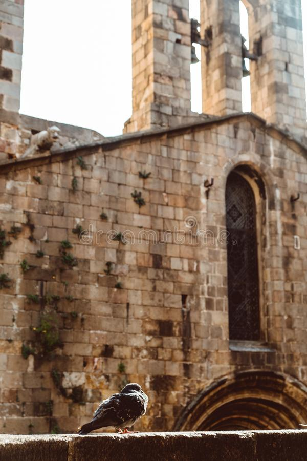 Old Church in the Gothic Quarter of Barcelona. It is aslo called as Barri Gotic royalty free stock photo