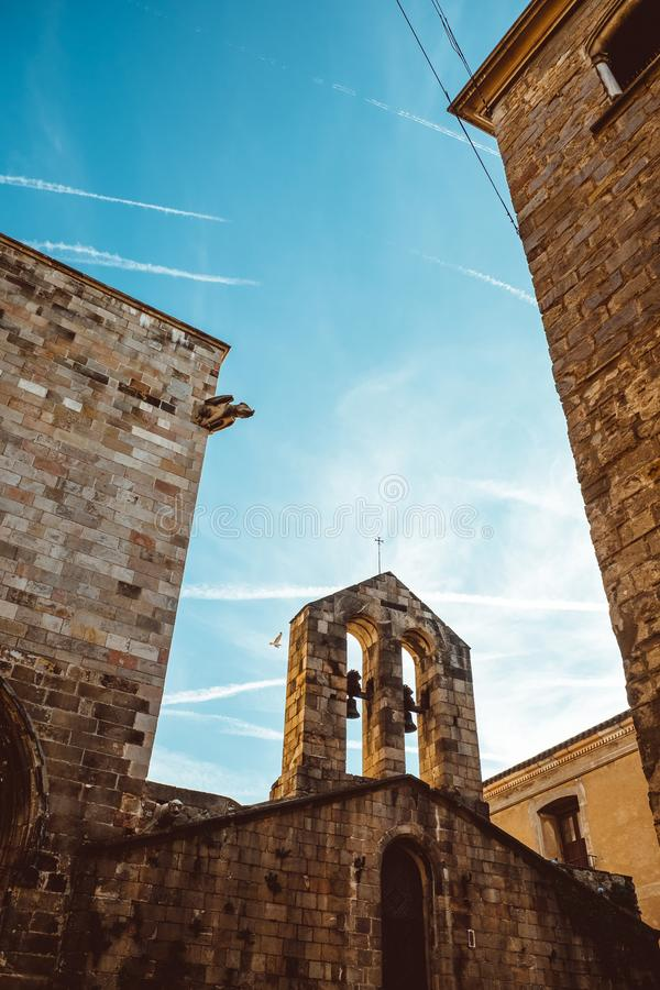 Old Church in the Gothic Quarter of Barcelona. It is aslo called as Barri Gotic stock images