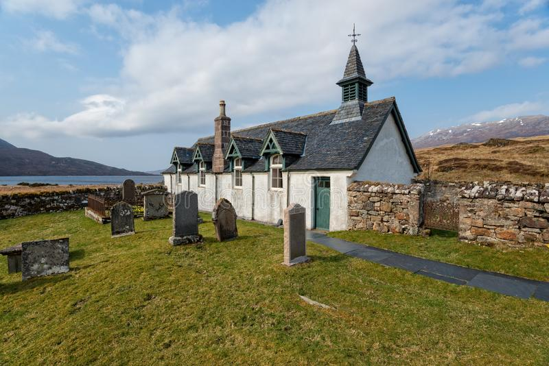 Old Kirk at Inchnadamph. The old church of Old Kirk at Inchnadamph on the shores of Loch Assynt in Sutherland, Scotland stock photography