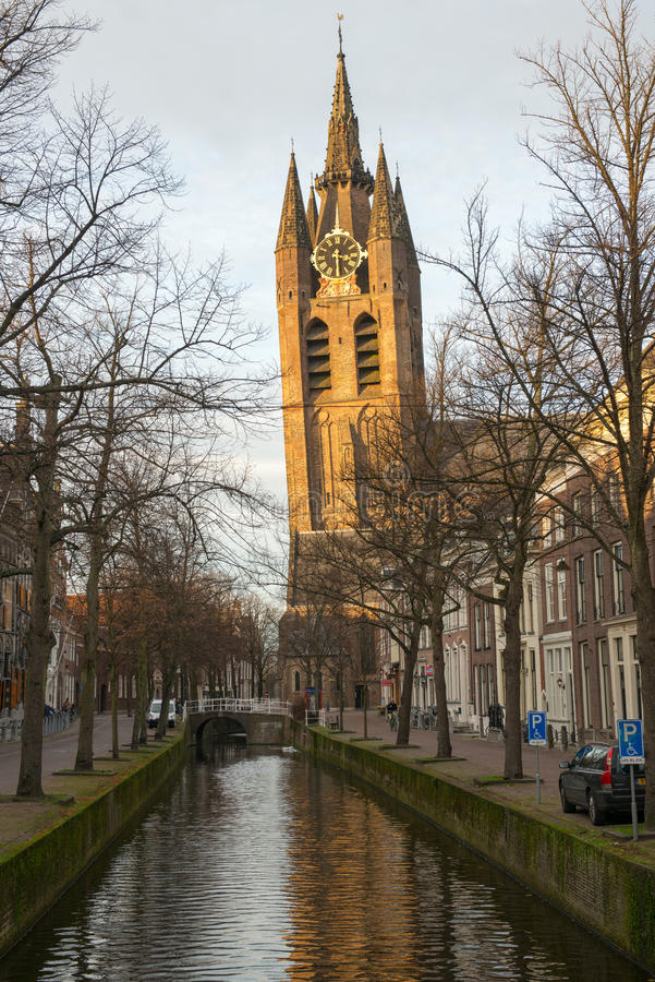 Old Church (Leaning tower) in Delft royalty free stock photo