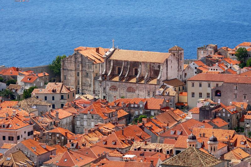 Old church near sea in Dubrovnik stronghold stock photo
