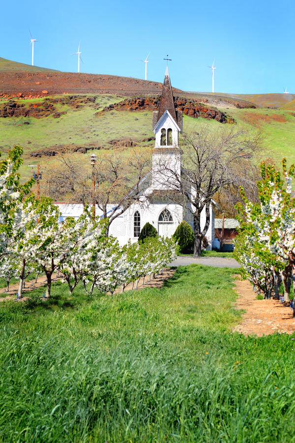 Old Church in Orchard stock photo