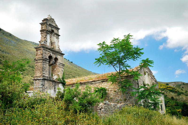 Old Church Ruins. In an Abandoned Village in Corfu royalty free stock photography
