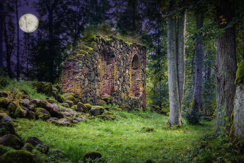 Old Church Ruins. In night royalty free stock photography
