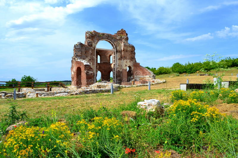 Old church ruins. The Red Church is the Early Medieval , early Byzantine basilica built in the V-VI century AD near Perushtitsa, Plovdiv district . A monument of stock photos