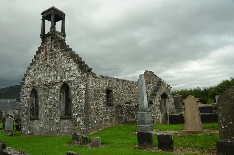Old Church Ruins. A view of the ruins of an old church building and graveyard in Tullibody royalty free stock image