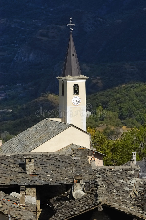 Old church spire in Susa no.1. Old, white church spire in the village of Susa stock photography