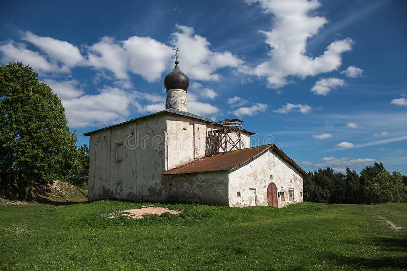 Old church under clear skies stock image