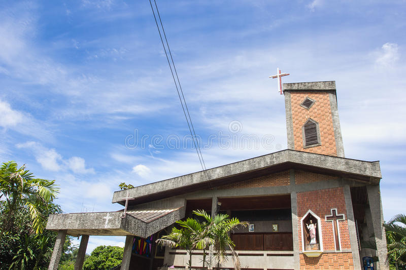 Old Church Watch Tower in Chaingmai, Thailand. Old Church Watch Tower on blue sky, Chaingmai, Thailand stock photography