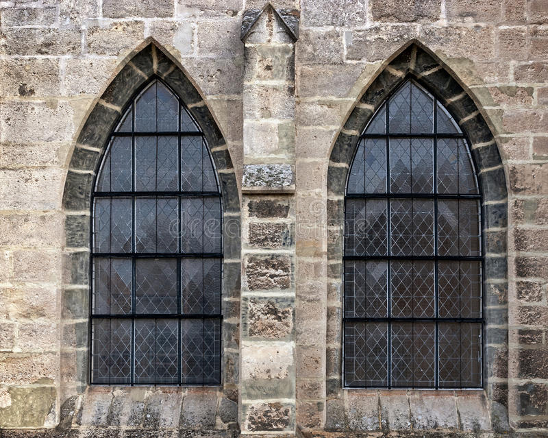 Old church window showing much detail and texture. ÑŽ. Kutna Hora, Czech Republic royalty free stock photography