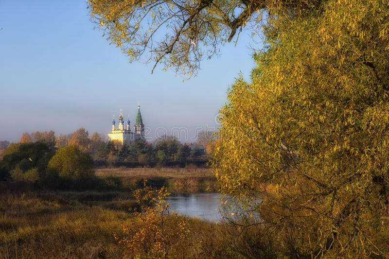 Old churches  at  sunrise in Dunilovo. Russia royalty free stock photo