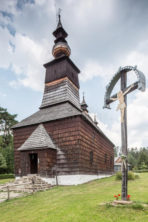 Old churchin open-air museum in Stara Lubovna stock image