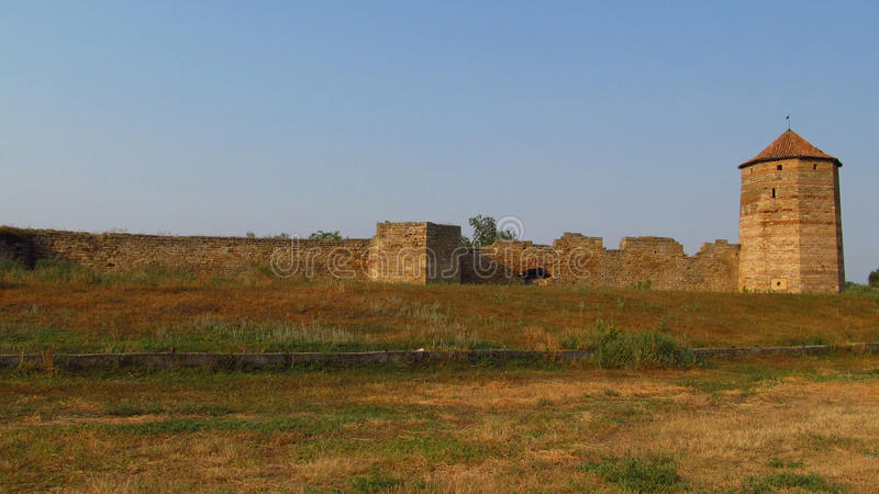 Old citadel in Belgorod Dnistrovski, Ukraine. Old citadel tower and wals in Belgorod Dnistrovski, Ukraine royalty free stock image