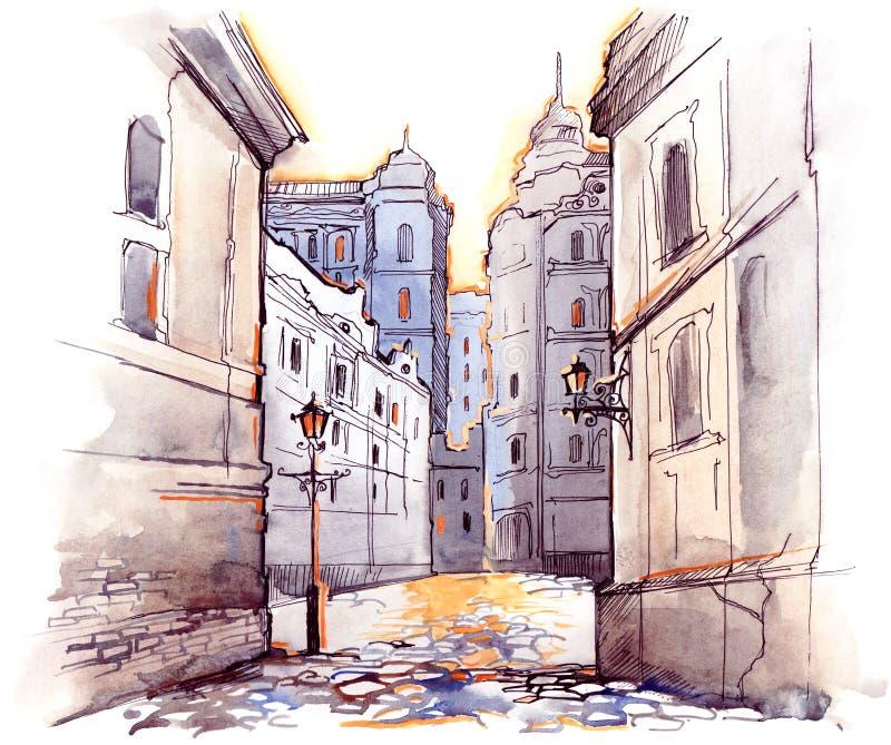 Old city stock illustration