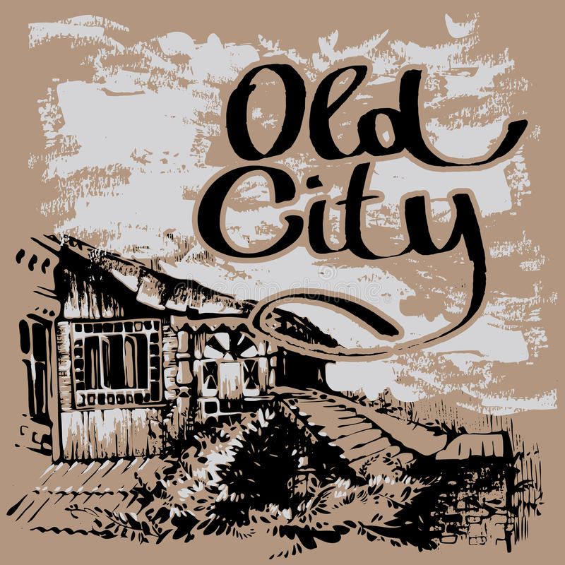 Old city. Architecture of old town. Hand drawn sketch. Cityscape with lettering. royalty free stock images