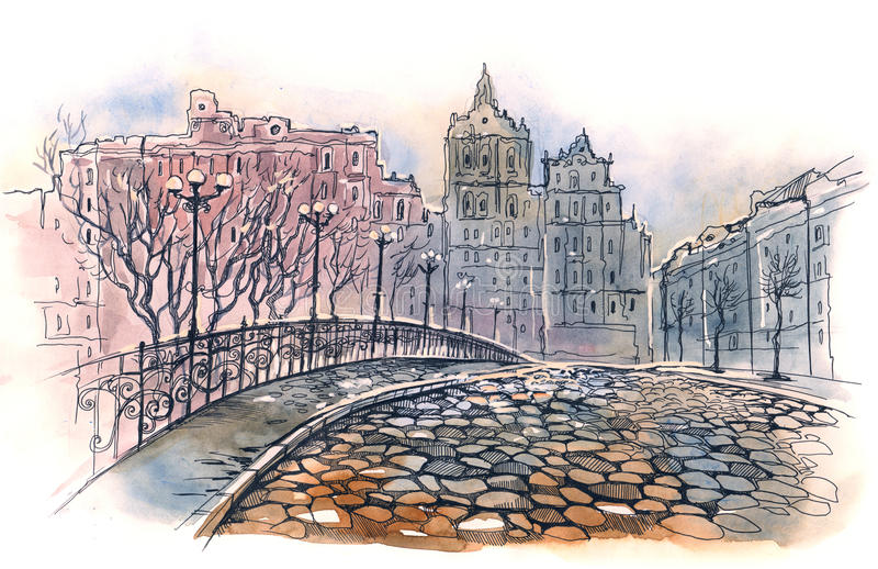 Old city bridge vector illustration