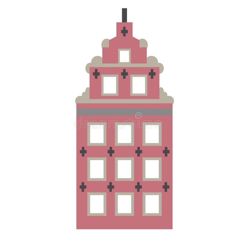 Old city building flat color illustration royalty free illustration