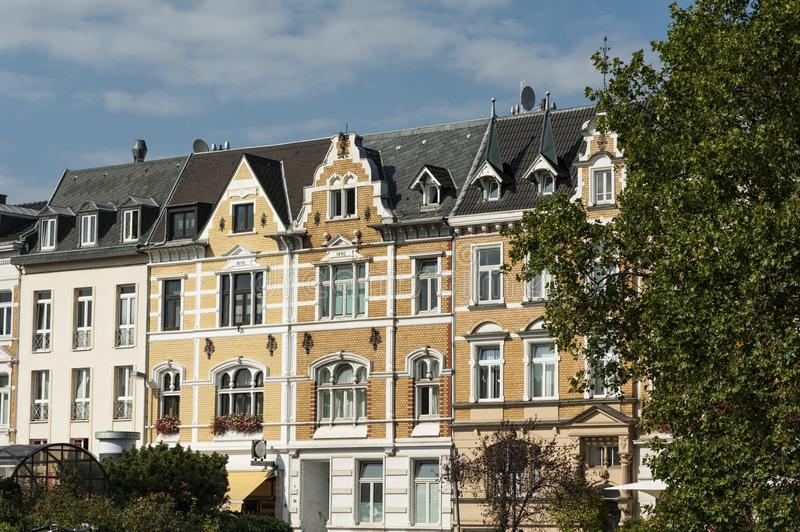 Old city buildings in the center of Bonn, Germany stock photos