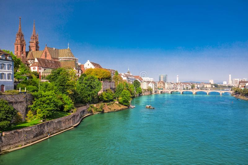 Old city center of Basel with Munster cathedral and the Rhine river, Switzerland, Europe. Basel is a city in northwestern Switzerland on the river Rhine and stock image