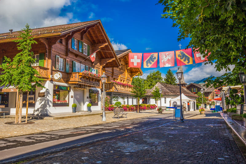Old City Center Of Gstaad Town Famous Ski Resort In Canton Bern