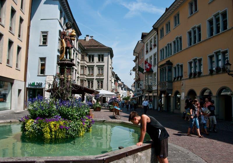 Tourists in Schaffhausen stock image
