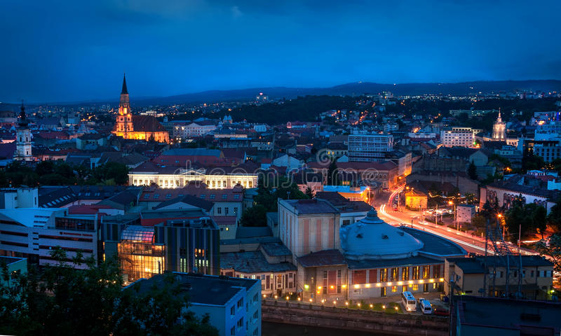 Old city of Cluj-Napoca night scene. Night cityscape with Cluj-Napoca, the European Youth Capital 2015 in Transylvania Romania royalty free stock photography