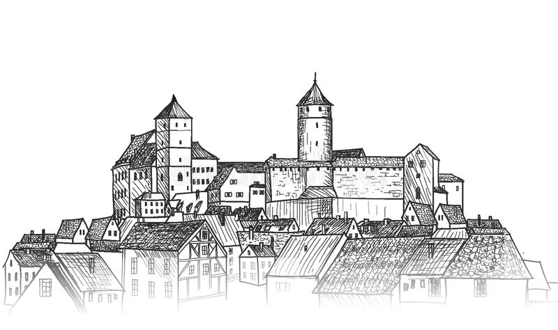 Old city. Downtown view. Medieval european castle landscape. Pen. Old city view. Medieval european castle landscape. Pensil drawn sketch vector illustration