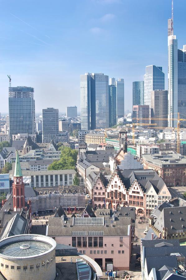 Old city of Frankfurt and modern buildings. Old city and modern city of Frankfurt stock images