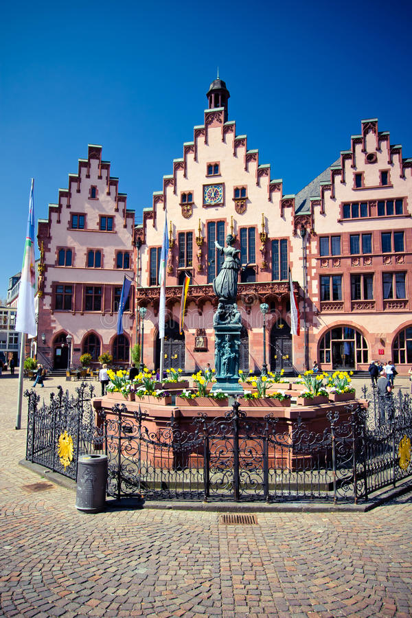 Old city of Frankfurt. Roemer place. Old Rathaus in in the center of the old city in Frankfurt. Roemer place stock photo