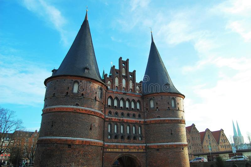 Old city gate of Lubeck, Germany royalty free stock photos