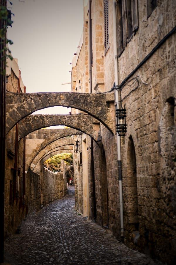 Old city greece. Oldu city greece island sun wall street summer royalty free stock photography