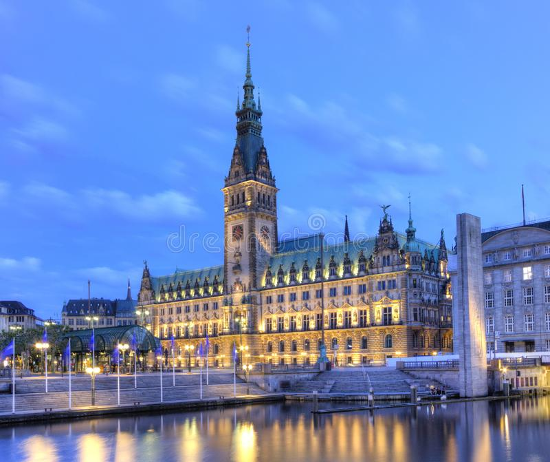 Old City Hall on Rathausmarkt in Hamburg, Germany royalty free stock photo